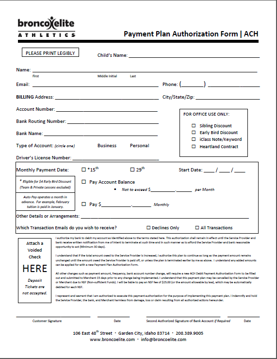 Auto Pay Form ACH 2015